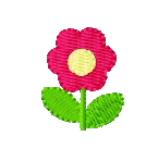 Blume mit Stiel und Blatt