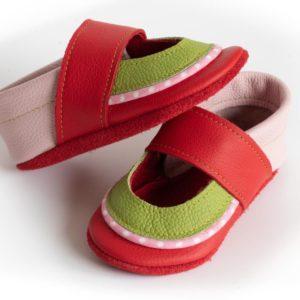 krabbelschuhe-sandalen--rot-gruen-rosa