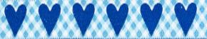 WEbband Herzen Karo Blau