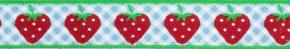 Webband Erdbeeren auf Karo blau