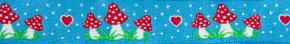 Webband Fliegenpilze himmelblau