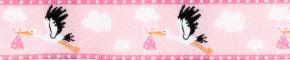 Webband Klapperstorch rosa