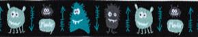 Webband Monster schwarz tuerkis