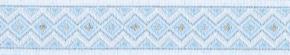 Webband Rauten hellblau weiss silber