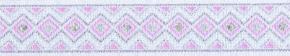 Webband Rauten rosa weiss silber