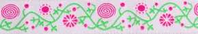 Webband blumig rosa