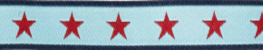 Webband sterne rot auf hellblau